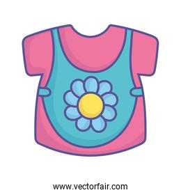 baby shower blue and pink clothes girl icon