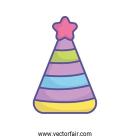 baby shower party hat with star stripe color icon