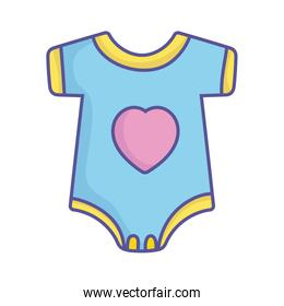 baby shower blue bodysuit with heart clothes icon