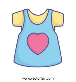 baby shower cute dress shirt with heart female clothes icon