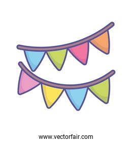 baby shower bunting flags decoration icon