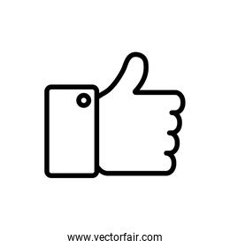 Thumb up line style icon vector design