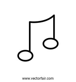 Isolated music note line style icon vector design