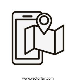 Isolated smartphone icon and gps mark vector design