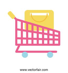 Isolated shopping cart vector design
