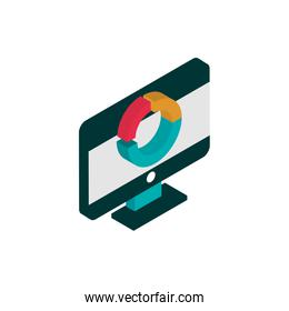 computer report chart advertising commerce marketing icon isometric