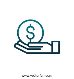 economy business hand with money coin gradient line