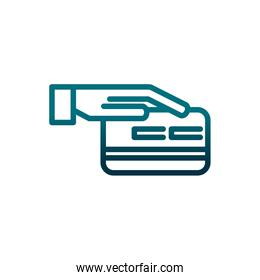economy business hand with bank card payment gradient line