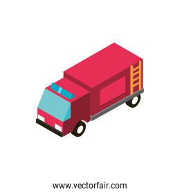 fire truck transport vehicle isometric icon