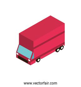 red truck shipping transport vehicle isometric icon