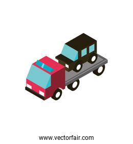 car towing truck service transport vehicle isometric icon