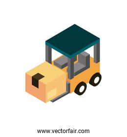 forklift with box transport vehicle isometric icon