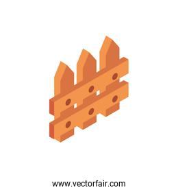 farm wooden fence protection rural isometric icon