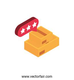 ecommerce business internet stack cardboard boxes icon