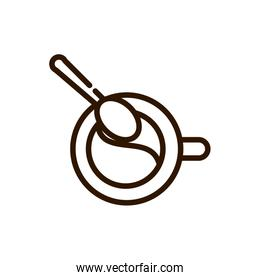 top view coffee cup and spoon line design