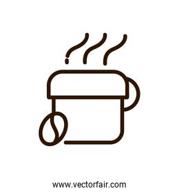 hot coffee cup and bean line design