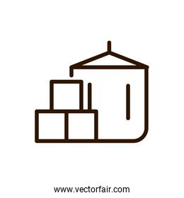 coffee package delivery icon line design