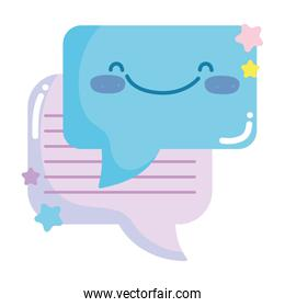 social networks cartoon message speech bubble icon