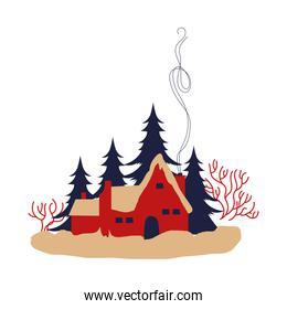 cute house and pines trees forest winter scene