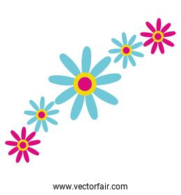beautiful flowers garden decorative icons