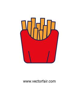 french fries fast food in red packing