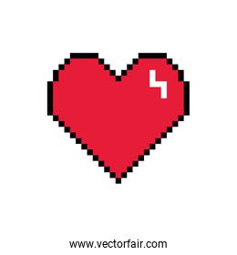 heart 8 bits pixelated style icon