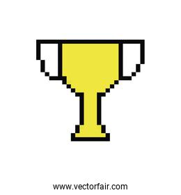 trophy cup 8 bits pixelated style icon