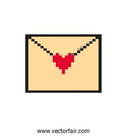 envelope with heart 8 bits pixelated style icon
