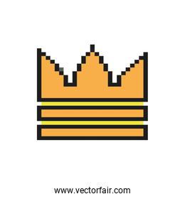 king crown 8 bits pixelated style icon