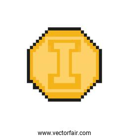 coin 8 bits pixelated style icon