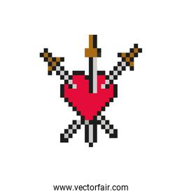 heart with swords 8 bits pixelated style icon