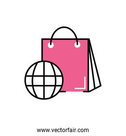 shopping bag paper with sphere planet