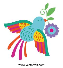 cute bird flying with flower mexican decoration