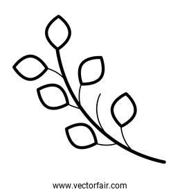 branch with leafs plant linear style icon