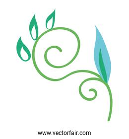 green and blue branch with leafs plant icon