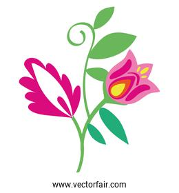 beautiful flowers and leafs garden decorative icon