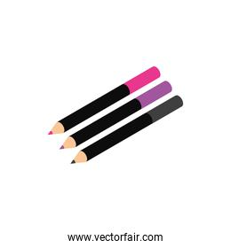 eyeliners pencils colors makeup product isolated icon