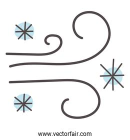 christmas snowflakes and wind doodle style icon