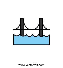 bridge with waves isolated icon