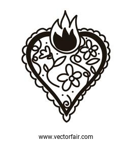 heart love with floral lace