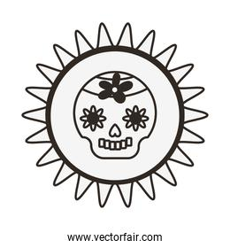 mexican skull mask with flower decoration