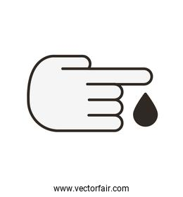 hand with drop blood medical flat icon