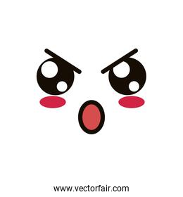 kawaii pretty face expression eyes and mouth angry