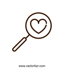 magnifier love heart romantic passion feeling related icon thick line