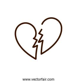 broken love heart romantic breakup relation related icon thick line
