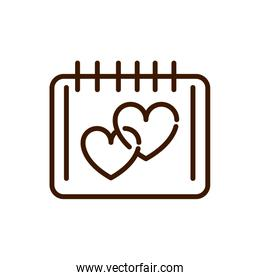 calendar plan reminder date love heart romantic passion related icon thick line