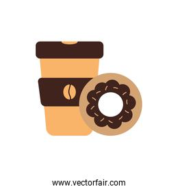 Isolated coffee mug and donut flat style icon vector design