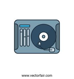 Isolated music vinyl line and fill style icon vector design
