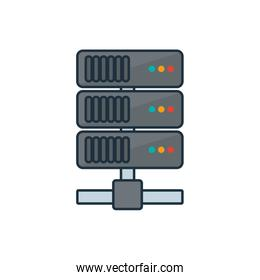 Isolated web hosting line and fill style icon vector design