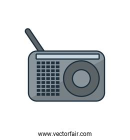Isolated music radio line and fill style icon vector design